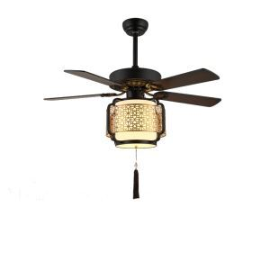 Modern Retro Ceiling Fan with Light and Remote Control Chandelier Fan Light Living Room Bedroom Lamp QM8052