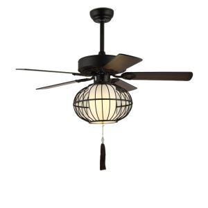 Modern Retro Ceiling Fan with Light and Remote Control Chandelier Fan Light Living Room Bedroom Lamp QM8053