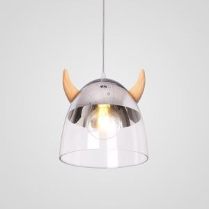 Classical Glass Pendant Light Wood Horn Lamp Creative Light Living Room Bedroom Lighting LB941075