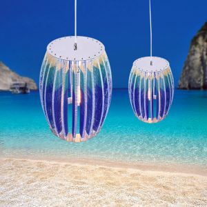 Mediterranean Sea style Drum Shape Pendant Light Ocean sea shore Design Chandelier Dinning Room Living Room 3D effect Decorative DIY Lighting