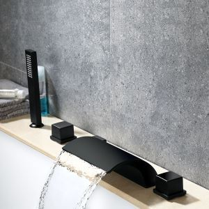 Modern Bathroom Tub Shower Waterfall Faucet Black Deck Mount Shower Tap