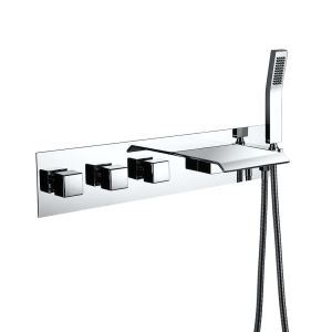 Wall Mount Tub Faucet Waterfall Bathtub Tap With Handshower Chrome/Black/Nickel Brushed