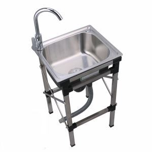 Creative Kitchen Sink Stainless Steel Sink Movable Outdoor Sink Single Bowl With Rack Sink (Faucet Not Included)