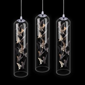 Glass LED Pendant Light Creative Nordic Cylinder Lamp Butterfly Light Bedroom Living Room Light
