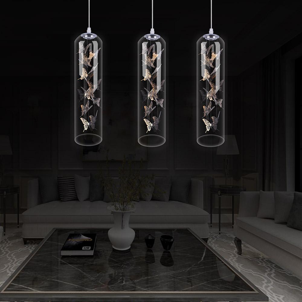 Glass LED Pendant Light Creative Nordic Cylinder Lamp ...