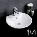 European Single Sink Shell Shape Vessel Sink White Ceramic Basin Without Faucet