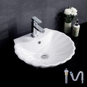 European Single Sink Shell Shape Vessel Sink White Ceramic Basin Without Faucet