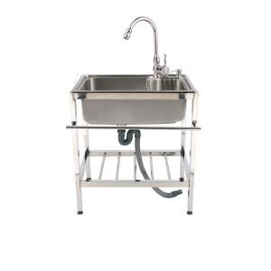 Contemporary Simple Kitchen Sink Movable Outdoor Sink Stainless Steel Single Bowl Sink (Faucet Not Included)