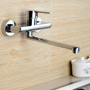 Wall Mounted Kitchen Faucet Chrome Kitchen Tap Widespread Sink Tap