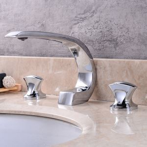 Widespread Bathroom Sink Faucet Creative Curved Basin Tap Chrome/Nickel Brushed/Black