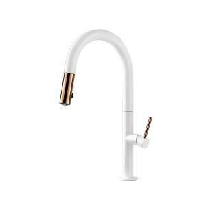 Pull Out Kitchen Faucet High Curved Kitchen Tap Black/White