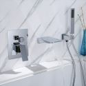 Wall Mounted Bathtub Faucet Waterfall Bathroom Tub Tap With Hand Shower Chrome/Black/Gold