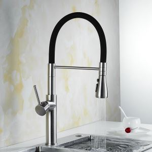 Black Spout Kitchen Faucet Contemporary Brushed Nickel Tap