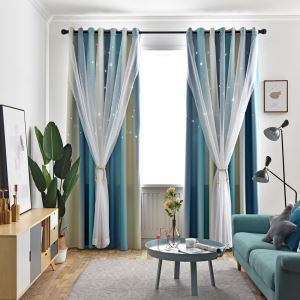 Max Blackout Curtain Hollow Star Curtain With Sheer Curtain Bedroom Curtain (One Panel)