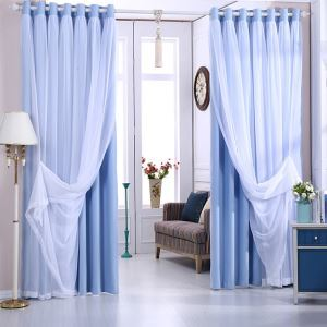 Fresh Blackout Curtain Solid Color Curtain With Sheer Curtain Bedroom Curtain (One Panel)