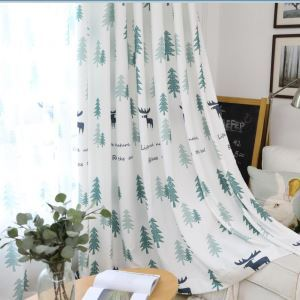 Simple Semi Blackout Curtain Fresh Plant Printed Curtain Living Room Curtain (One Panel)