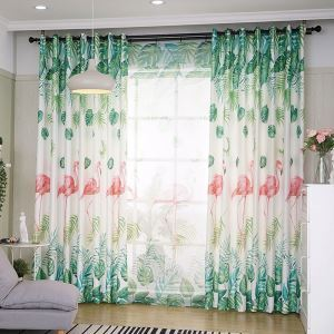 Modern Semi Blackout Curtain Flamingo Printed Curtain Living Room Curtain (One Panel)
