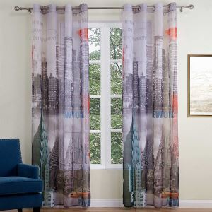 Breathable Ready Made Curtain New York City Printed Curtain Living Room Curtain (One Panel)