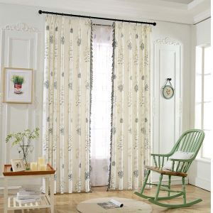 Retro Rural Semi Blackout Curtain Flower Printed Curtain Living Room Curtain (One Panel)