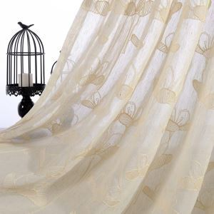 Country Sheer Curtain Flower Embroidery Curtain Living Room Curtain (One Panel)