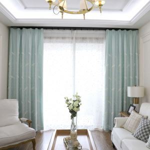 Semi Blackout Curtain Feather Embroidery Curtain Living Room Bedroom Curtain (One Panel)