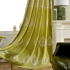 Simple Semi Blackout Curtain Rural Leaf Embroidery Curtain Living Room Curtain (One Panel)
