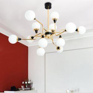 Nordic Glass Pendant Light Milky White Round Lamp Modern Chandelier Light Living Room Lighting D269