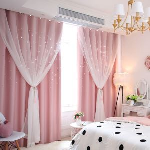Korean Ready Made Curtain Hollow Star With Sheer Curtain Kids Room Curtain (One Panel)