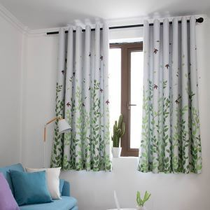 Fresh Ready Made Curtain Green Leaf Printed Curtain Bedroom Curtain (One Panel)