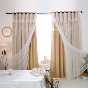 Korean Ready Made Curtain Hollow Note With Sheer Curtain Bedroom Curtain (One Panel)