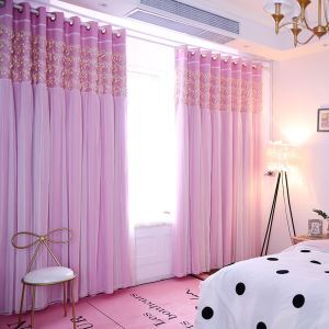 Korean Ready Made Curtain Leaf Lace Curtain With Sheer Curtain Bedroom Curtain (One Panel)