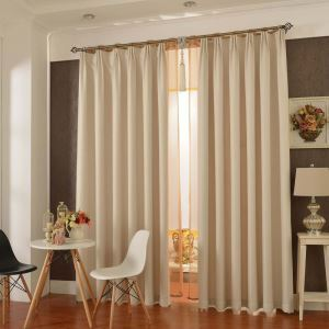 Modern Ready Made Curtain Check Linen Solid Color Curtain Bedroom Curtain (One Panel)