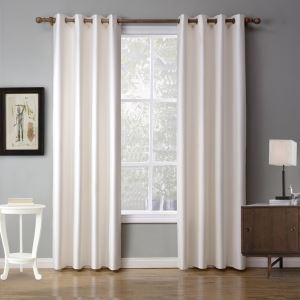 Modern Ready Made Curtain White Solid Color Curtain Bedroom Living Room Curtain (Two Panels)