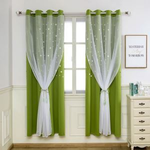 Ready Made Curtain Solid Color Curtain With Sheer Curtain Bedroom Curtain (One Panel)