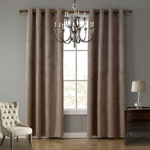 Modern Ready Made Curtain Suede Solid Color Finished Curtain Living Room Curtain (Two Panels)