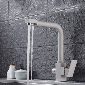 Oat Color Kitchen Faucet Modern Filtering Kitchen Tap
