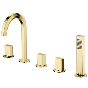 Modern Widespread Bathtub Faucet Ti-PVD Tub Tap With Handheld Shower 3 Handles