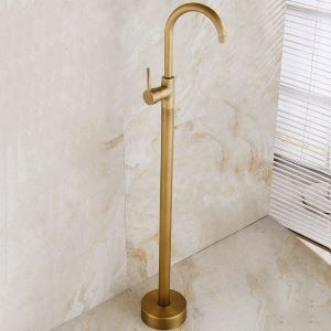 Antique Floor Standing Tap Brass Bathtub Faucet Classical Single Lever Tap