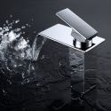 Contemporary Waterfall Bathroom Sink Faucet Chrome Brass Basin Mixer Tap