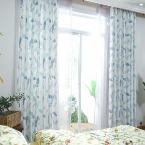 Semi Blackout Curtain Fish Printed Curtain Kids Room Living Room Curtain (One Panel)