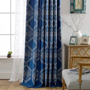 Modern Blackout Curtain Geometric Embroidery Curtain Bedroom Curtain (One Panel)