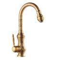 Antique Brass Kitchen Mixer Tap Tall Faucet