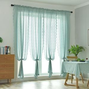 Korean Ready Made Curtain Lace Jacquard Sheer Curtain Living Room Curtain (One Panel)