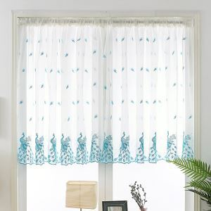 Breathable Ready Made Curtain Peacock Embroidery Curtain Living Room Curtain (One Panel)