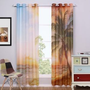 Individual Ready Made Curtain Coconut Tree Printed Sheer Curtain Living Room Curtain (Two Panels)