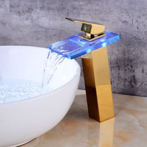 Color Changing LED Bathroom Sink Faucet Golden Basin Tap Single Handle Tap