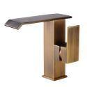 Antique Brass Bathroom Sink Faucet Waterfall Basin Tap Single Handle Tap