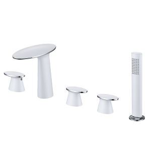 Luxury Bathtub Faucet Mushroom Shape Bathroom Tub Tap Triple Handles Tap