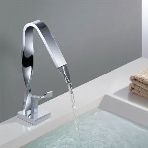 High Twisted Sink Faucet Modern Chrome Bathroom Sink Tap