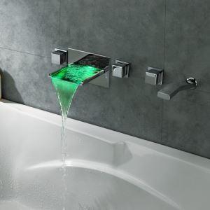 Wall Mount Tub Faucet Chrome LED Waterfall Bathtub Tap